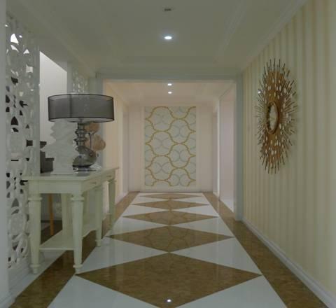 欧式过道地砖效果图 走廊地面采用石材拼花